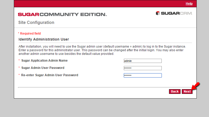 configuring the admin login information