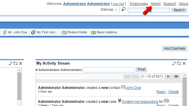 accessing the admin area