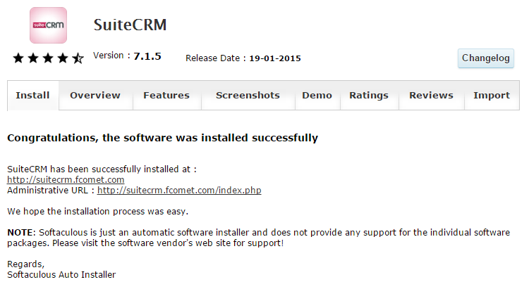 Successful SuiteCRM Installation via Softaculous