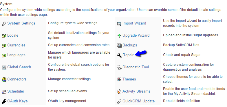 Access Repair Tool in SuiteCRM