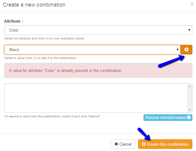 Create a new product attributes combination in Thelia