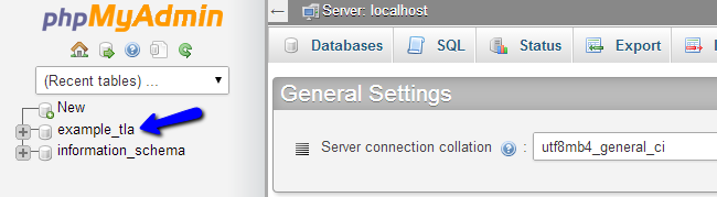 Select database via phpMyAdmin