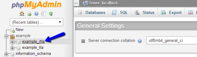 Access database via phpMyAdmin