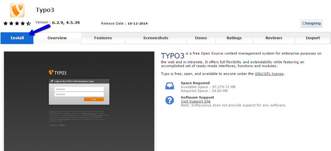 Initiate Typo3 installation via Softaculous