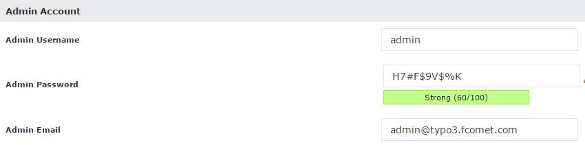Typo3 admin account setup in Softaculous