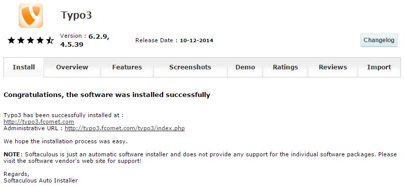 Typo3 successful installation via Softaculous