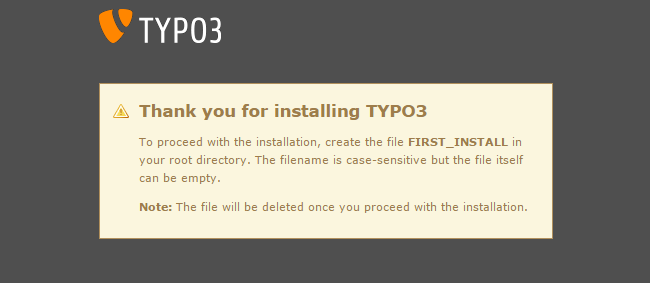 Confirm installation of TYPO3