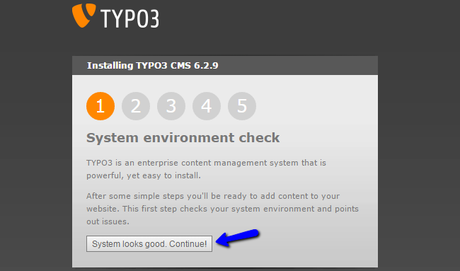 System check during TYPO3 installation
