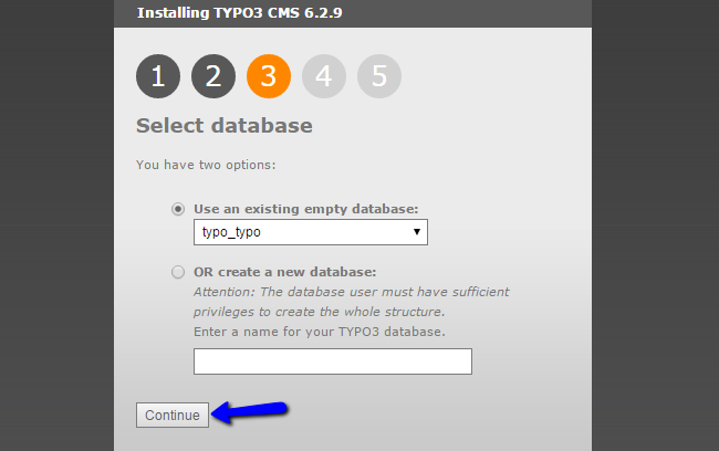 Select database during TYPO3 installation