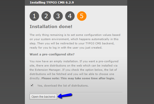 TYPO3 successfully installed