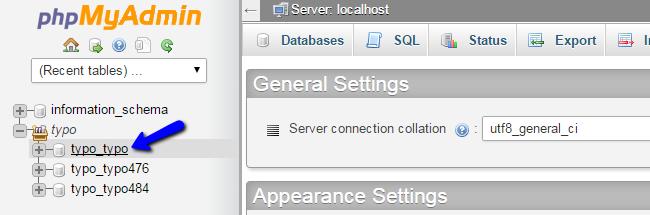 Access TYPO3 database via phpMyAdmin
