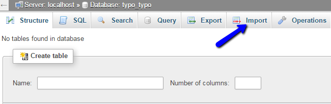 Access import feature in phpMyAdmin