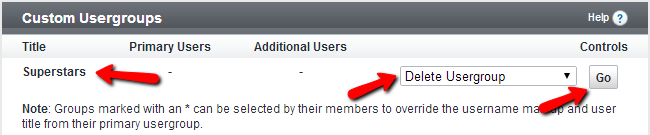 Delete existing usergroup in vBulletin
