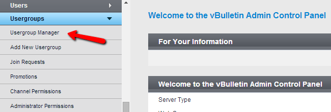 Access usergroup manager in vBulletin
