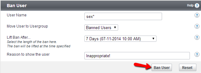 Edit ban information for user in vBulletin