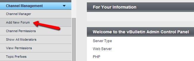 Add new forum in vBulletin