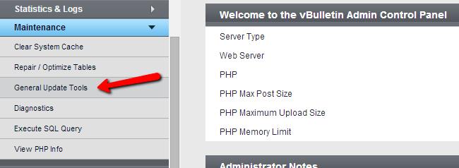Access general update tool in vBulletin