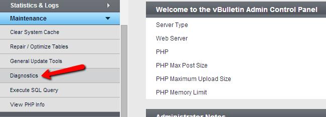 Access diagnostics tool in vBulletin