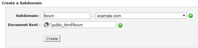 Create subdomain in cPanel