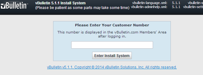 Enter vBulletin customer number
