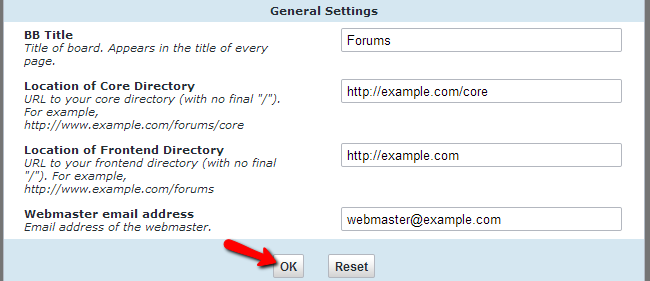 Configure general settings in vBulletin