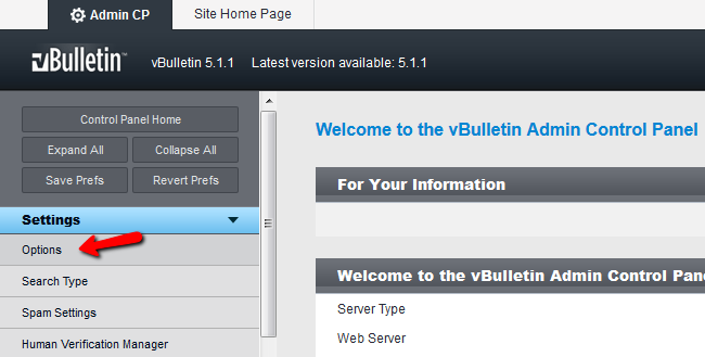 vBulletin settings panel