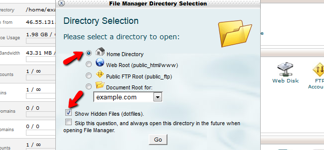 Edit File Manager options