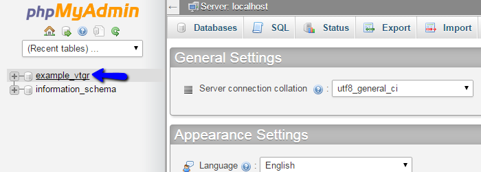 Access vTiger database via phpMyAdmin