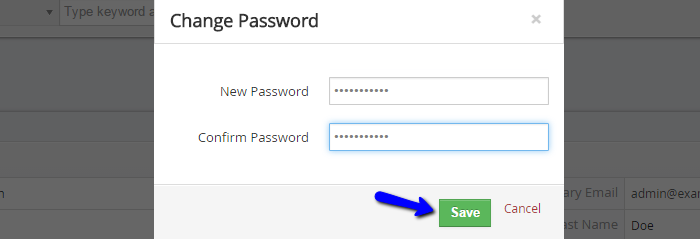 Enter new account password in vTiger