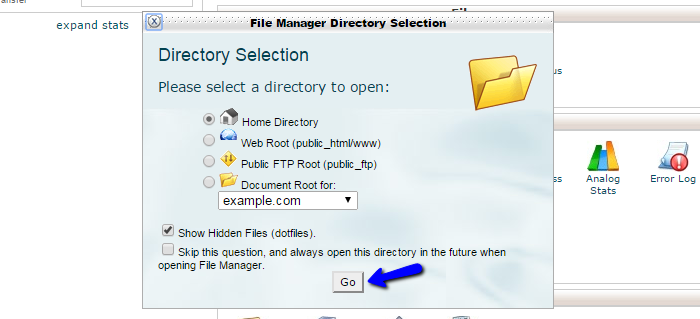 Edit file manager options in cPanel