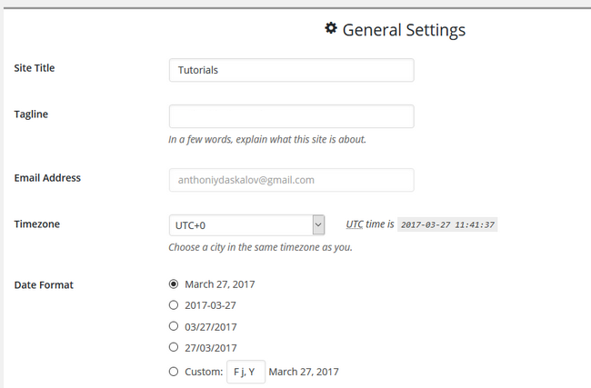 Overview of the General Settings in the website builder