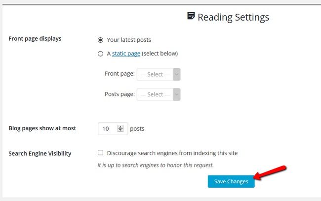 Configuring the Reading Settings for your website in the site builder