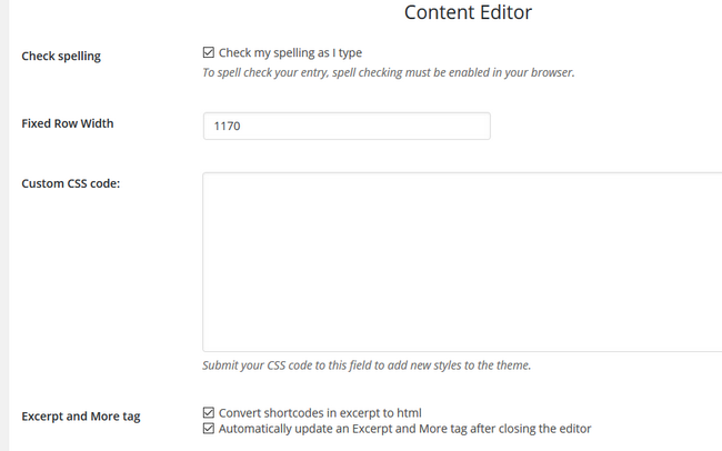Content Editor Settings for the Website Builder