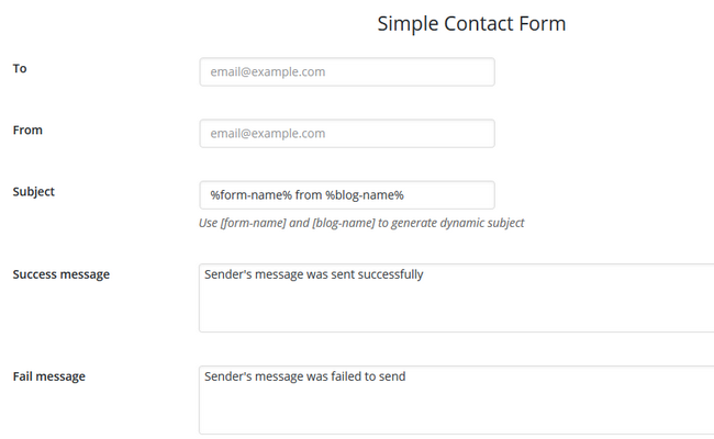 Configuring the Contact Form details for your website in the builder