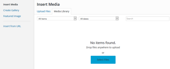 Selecting new media files for your website