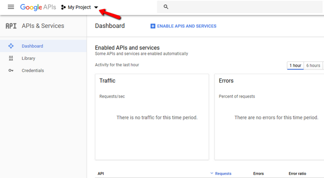 Accessing your google projects