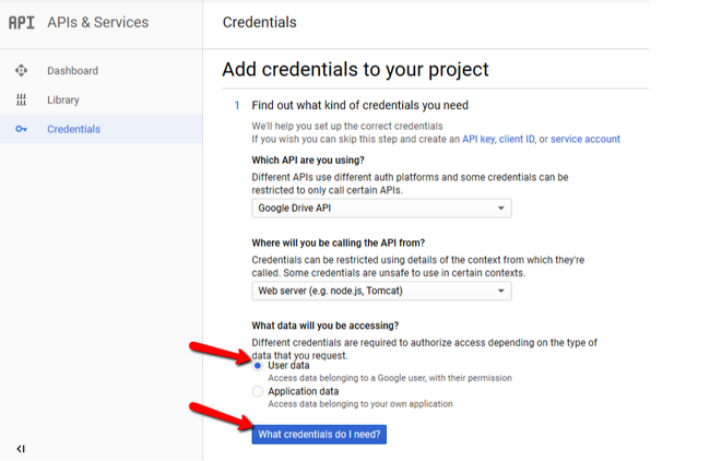 Configuring your Google Drive API credentials