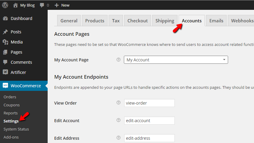 accessing the accounts settings page