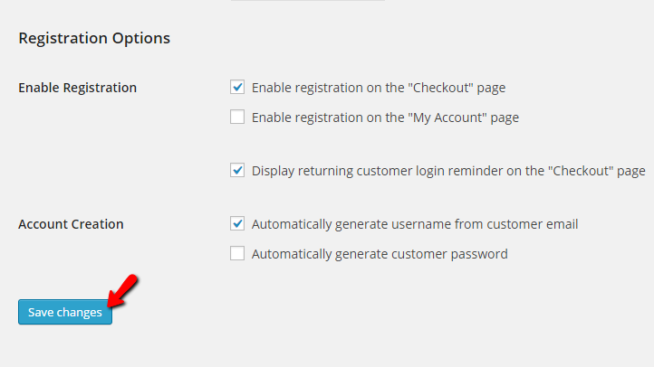 editing the registration options