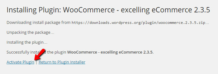 Activating the WooCommerce plugin