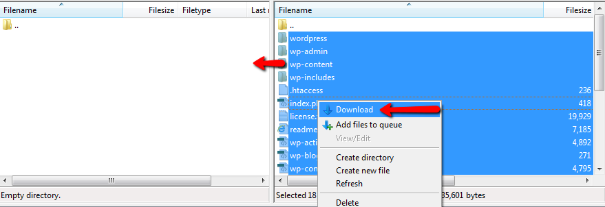 downloading wordpress files via ftp