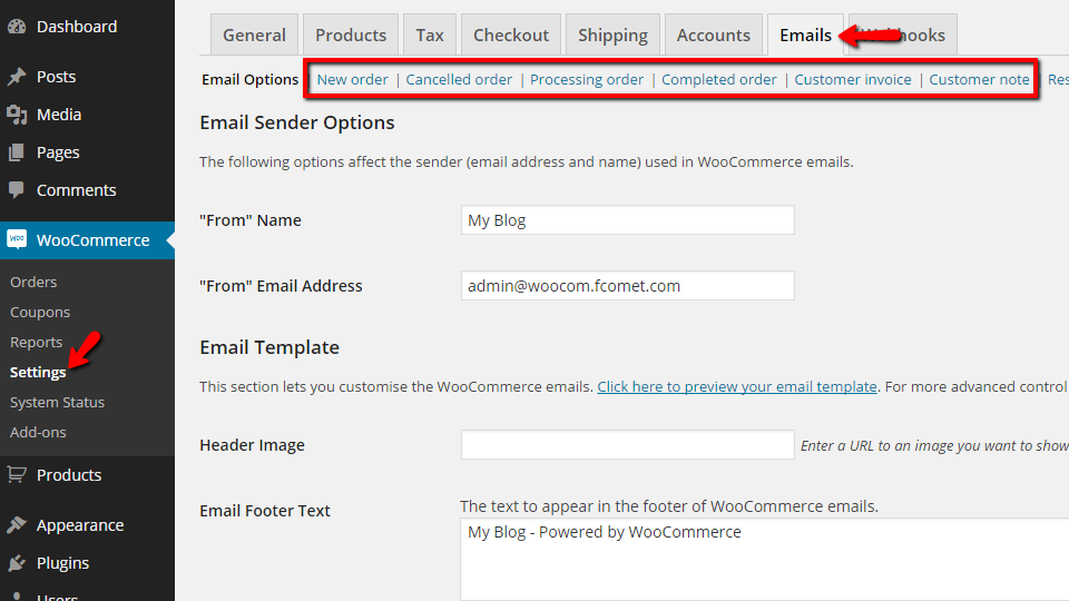 How To Edit The Email Templates WooCommerce Tutorial FastComet - Woocommerce invoice system