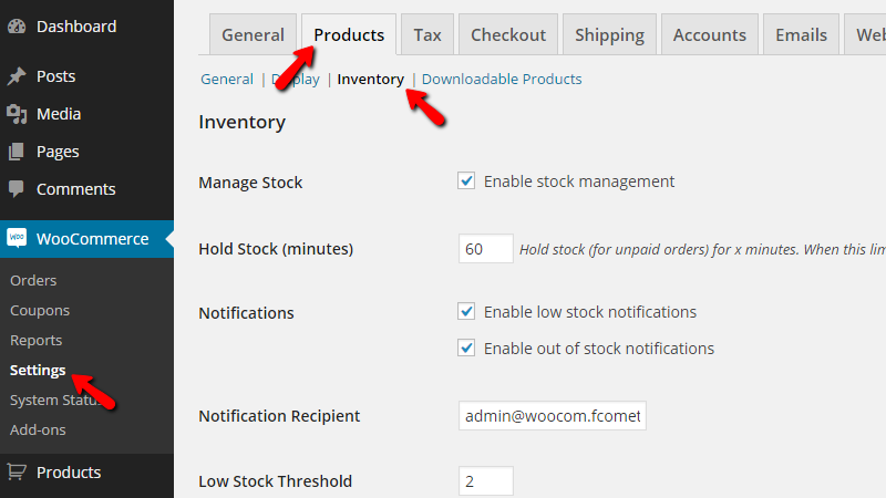 accessing the inventory options page