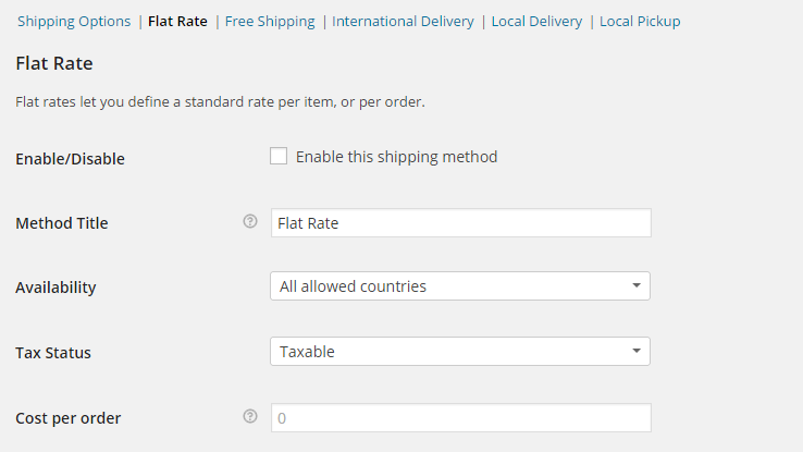 accessing the Flat rate shipping method