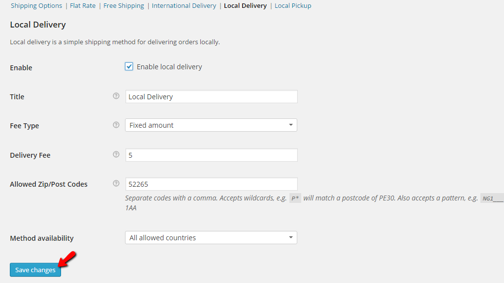 configuring the local delivery