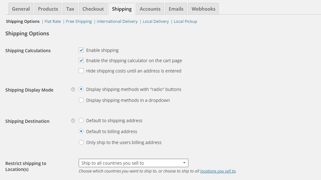 configuring the shipping options page