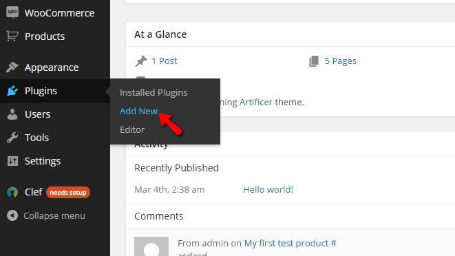 accessing the plugins page of wordpress