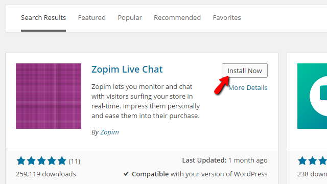 installing the zopim livechat plugin