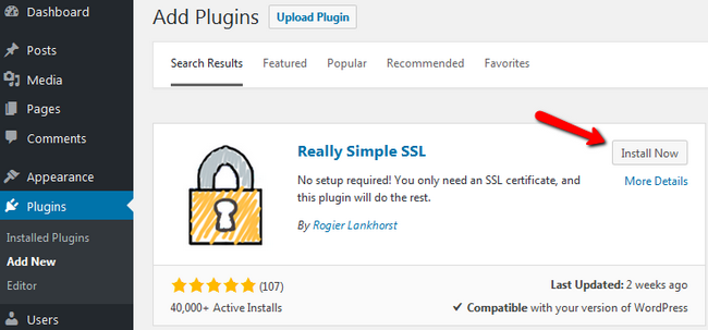 Installing the Really Simple SSL plugin