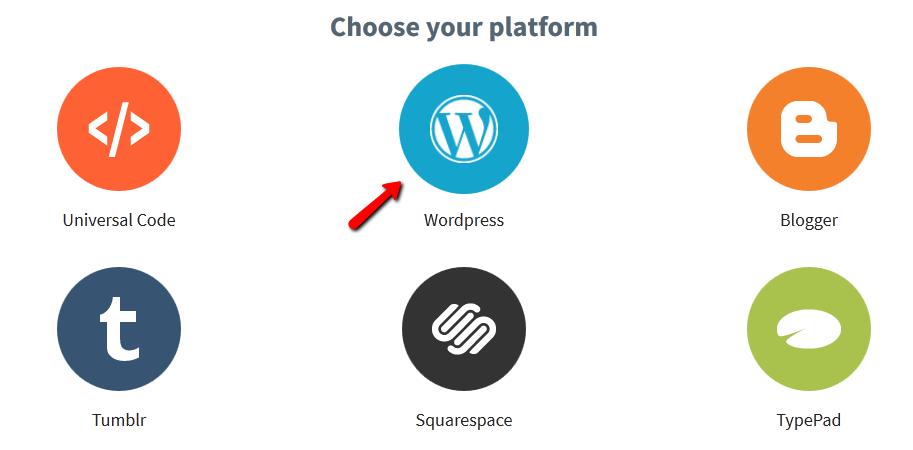 Selecting the WordPress platform